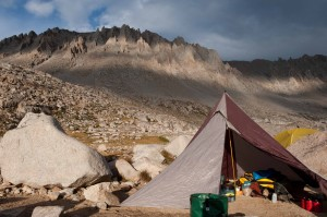 Reaping the benefits of a tarp shelter in fickle weather at Mt Whitney basecamp, Guitar Lake, John Muir Trail. copyright Colby J Brokvist